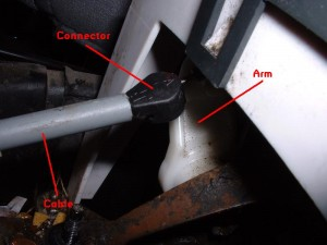 Lockout cable on gear selector